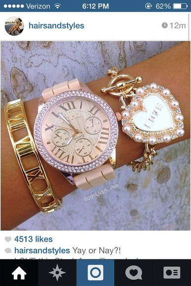 jewels watch style gold clock pink bracelets set bracelets