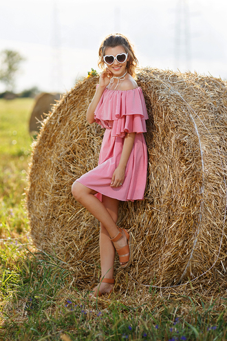 the mysterious girl blogger dress shoes sunglasses off the shoulder pink dress mini dress wedges heart sunglasses summer dress ruffle