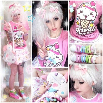 dress shirt harajuku japanese fashion kawaii pastel pink t-shirt skirt