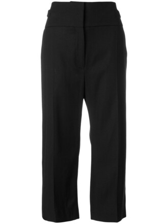 cropped high women spandex cotton black wool pants