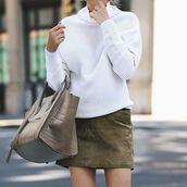 skirt,tumblr,white sweater,mini skirt,khaki,bag,nude bag,celine,celine bag,green skirt,turtleneck,turtleneck sweater,sweater