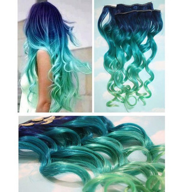 Hair Accessory Hair Extensions Tumblr Blue Mint Mint Green