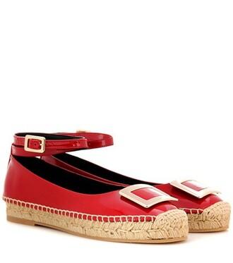 embellished espadrilles leather red shoes