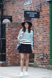 preppy fashionist,blogger,hat,sweater,skirt,bag,stripes,long sleeves,striped top,black bag,chanel,white sneakers,black hat,black skirt,button up,mini skirt,streetwear,finery london,topshop,chanel boy bag,chanel boy,boy bag