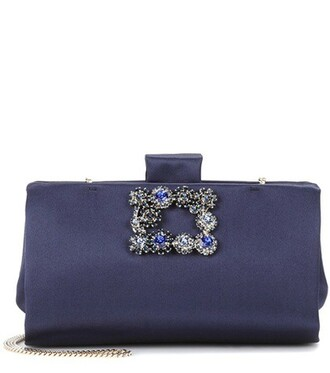 soft clutch flowers satin blue bag