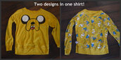 sweater,adventure time,clothes,blog,tumblr,giveaway,jake the dog,jake,shirt,long sleeves,double side,double sided,reversible,reverse,yellow,sweatshirt