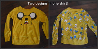 sweater adventure time clothes blog tumblr giveaway jake the dog jake shirt long sleeves double side double sided reversible reverse yellow sweatshirt