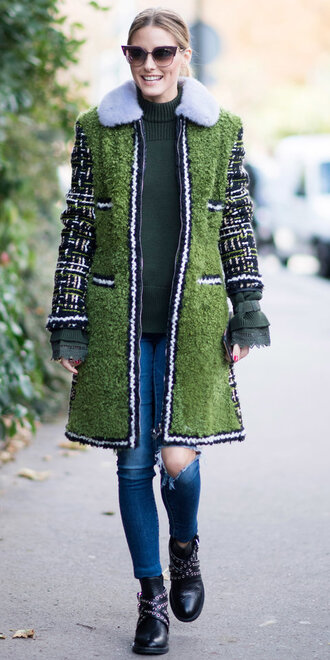 dress jeans olivia palermo sunglasses blogger streetstyle paris fashion week 2017 fall outfits coat
