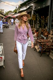 cotton,white jeans,sandal heels,bag,striped shirt,chain necklace,earrings,straw hat