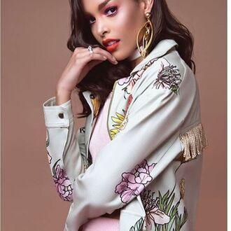 jacket yeah bunny floral mint retro 36683 fringes