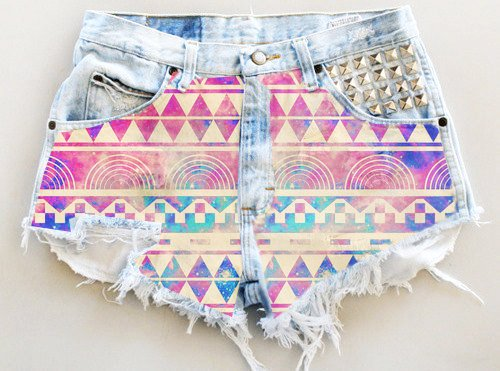 Aztec Print High Waisted Shorts - Ripped Aztec Print High Waisted... - Shorts - Denim: