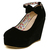Fashion Round Closed Toe Super High Wedges Black Suede Ankle Strap Pumps_Pumps_Womens Shoes_Cheap Clothes,Cheap Shoes Online,Wholesale Shoes,Clothing On lovelywholesale.com - LovelyWholesale.com