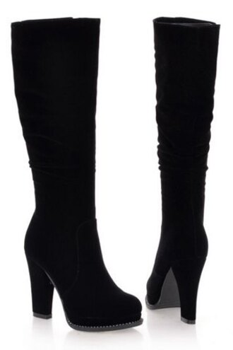 shoes boots high heels black trendy stylish black and suede design women's boots fashion style sexy