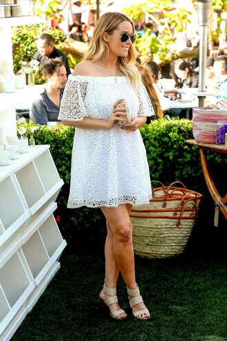 jacket white white dress white lace dress lauren conrad blogger sandals off the shoulder dress off the shoulder maternity dress