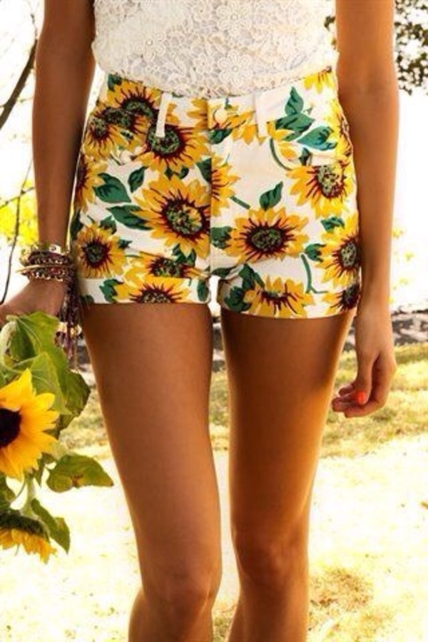 shorts sunflower summer sunflower High waisted shorts cute summer pants