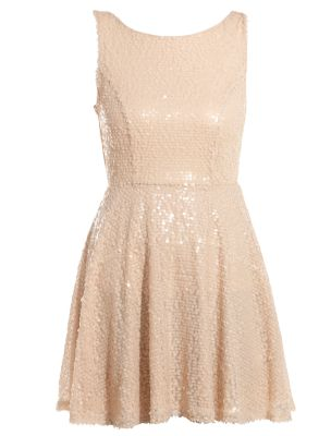 Shell Pink Sequin Sleeveless Skater Dress