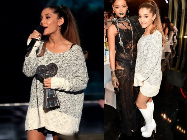 ariana grande fall outfits sweater weather sweatshirt sweater shirt shoes sweater