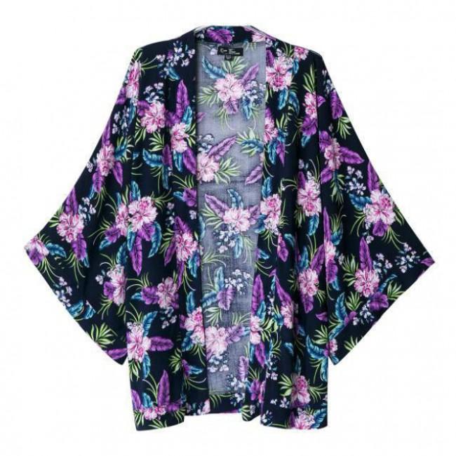 Purple flowers kimono