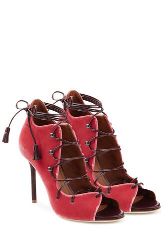 sandals lace velvet rose shoes