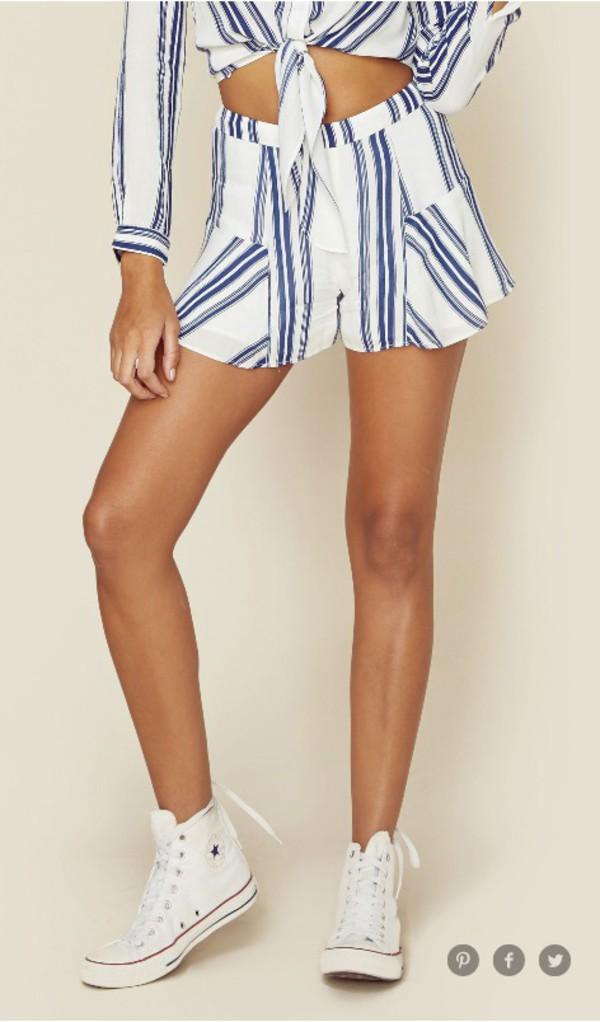 shorts striped shorts ruffle