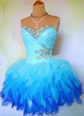 blue cocktail dress,short cocktail dress,short prom dress,ruffles crystals dress,sweetheart dress,hello dress,cocktail dress