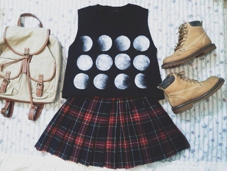 skirt shirt scotish chacked red black beautiful moon blouse boots rucksack cute mini shirt mini skirt bag shoes