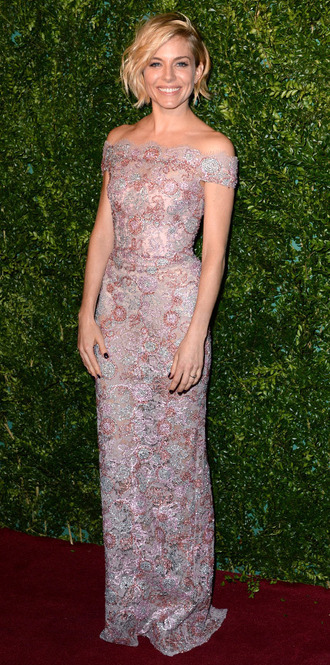 dress gown prom dress sienna miller pink lace dress