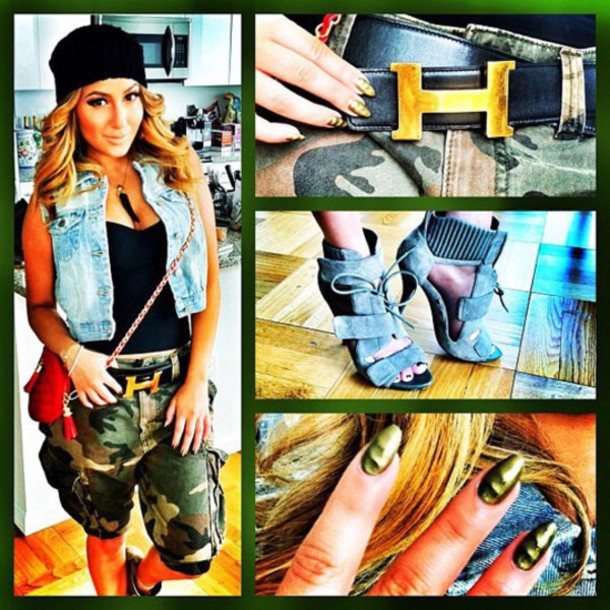shoes adrienne bailon camouflage shorts hat nail polish belt hairstyles heels purse high heels style