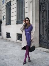 dress,purple,purple dress,midi dress,coat,camel coat,shoes,sunglasses,trench coat,opaque tights,tights