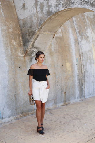 seams for a desire blogger top skirt shoes bag jewels off the shoulder black top white skirt mini skirt mini bag black heels thick heel black off shoulder top