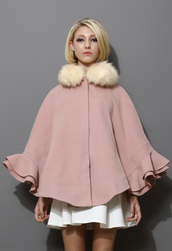 coat,detachable,faux fur collar,ruffle,cape,pink