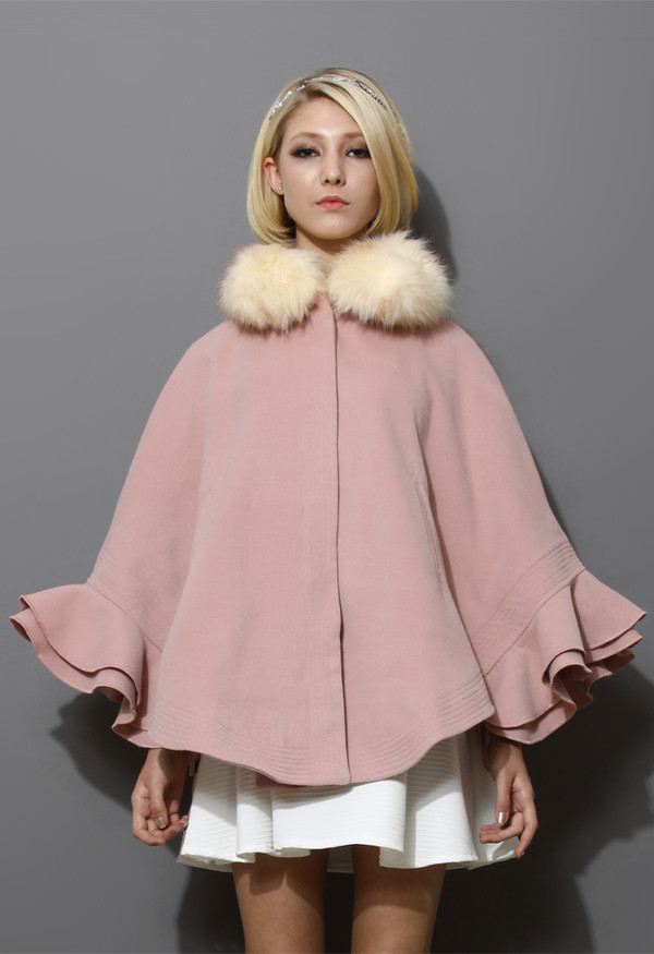 coat detachable faux fur collar ruffle cape pink