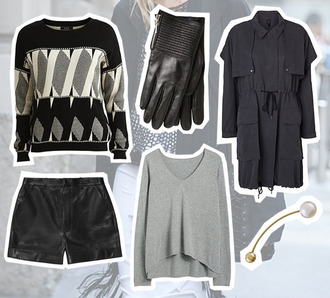 fashion fillers blogger winter outfits gloves leather shorts grey sweater pearl
