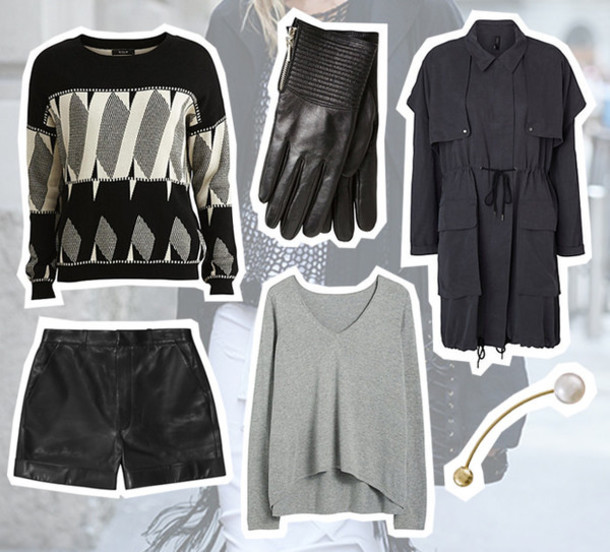 fashion fillers blogger winter outfits gloves leather shorts grey sweater pearl coat sweater shorts