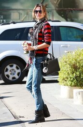 alessandra ambrosio,boots,stripes,isabel marant,fendi,leather boots,sunglasses,scarf,striped sweater,zadig et voltaire,sweater,bag,shoes