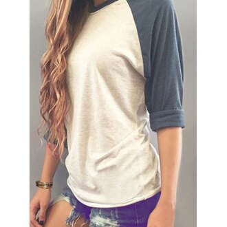 top casual shirt white grey casual round neck long sleeve color block loose t-shirt for women cool sporty comfy tomboy boyfriend tshirt
