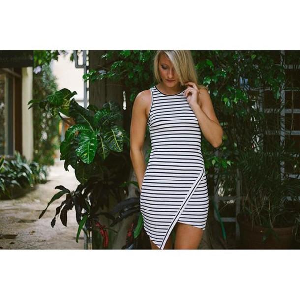 43aa35d33d87 dress asymmetrical asymmetrical dress stripes black and white black and white  stripes white black white and