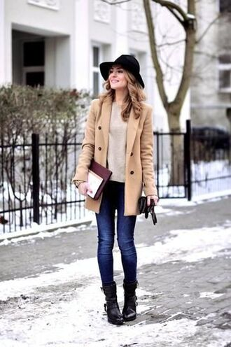 coat black hat brown coat white sweater skinny jeans combat boots blogger
