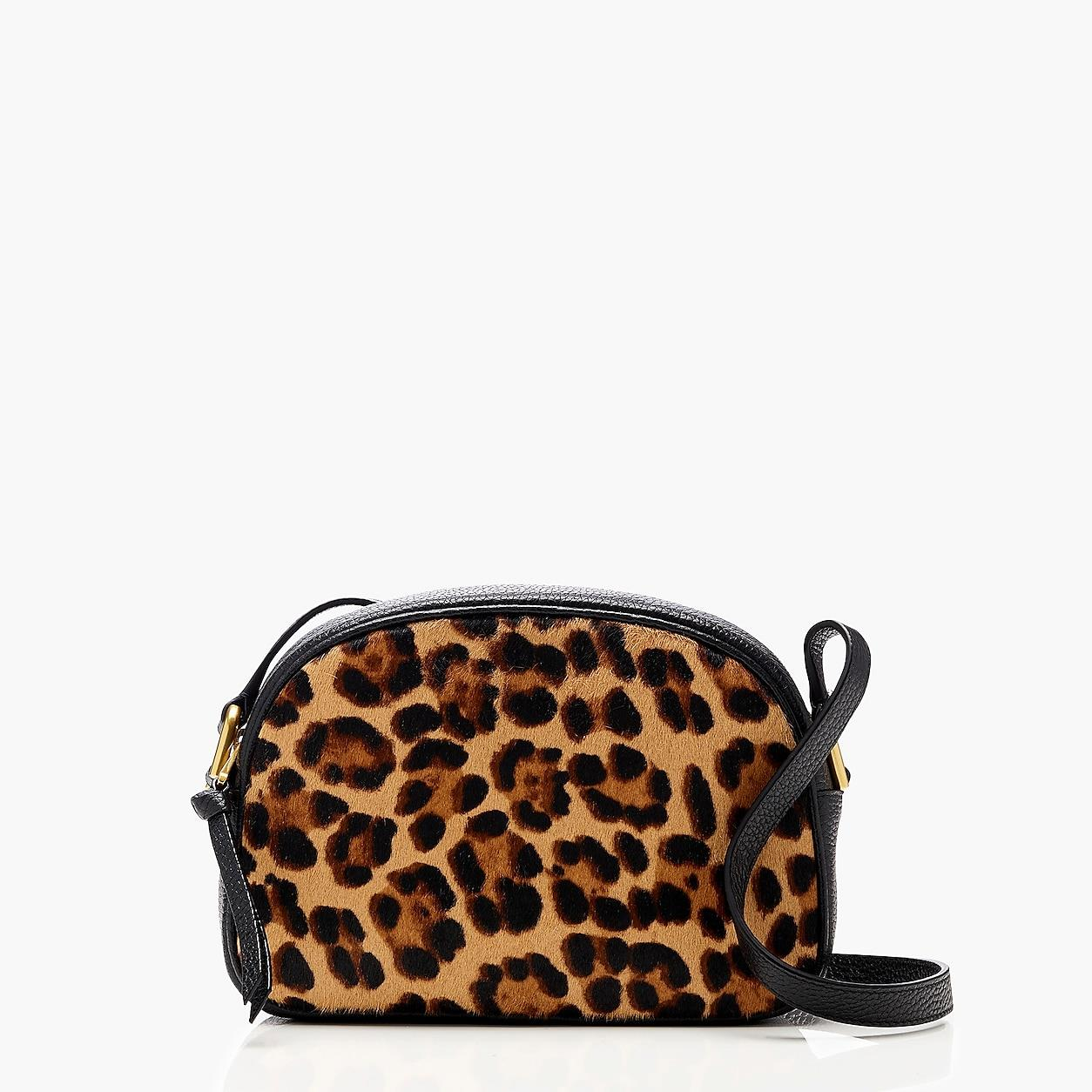 Devon Camera Bag In Leather With Leopard Calf Hair