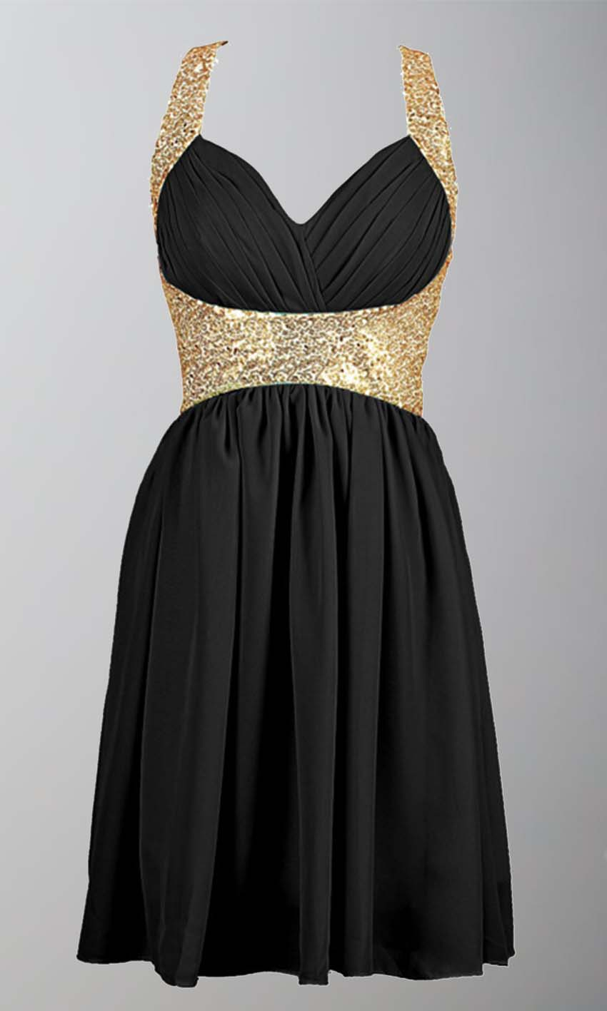 Bridesmaid Dresses Black And Gold - Wedding Guest Dresses