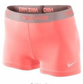 shorts,peach pink,pink,nike pro,nike pro shorts,cute,nike,sporty,sportswear,fashion,peach,sports shorts
