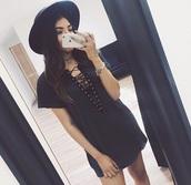 dress,black dress,v neck dress,lace up front,lace up dress,loose dress