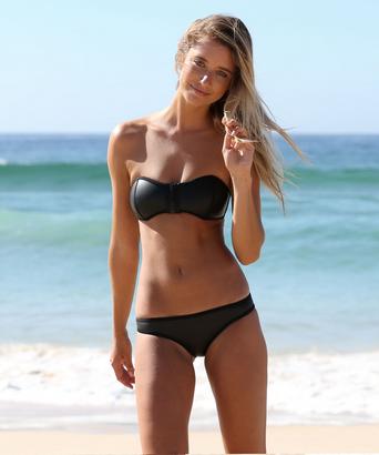 Bandeau Style Neoprene Black Bikini | RubyLiu Boutique