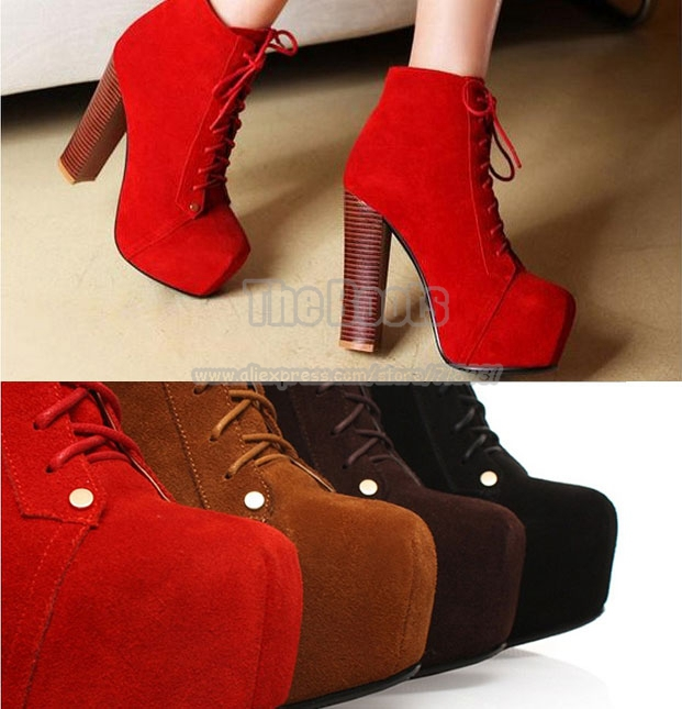 Womens Red Brown Black Suede Genuine Leather Jeffrey Campbell Shoes Lita Platform Square Toe Lace Up Chunky High Heel Booties-inBoots from Shoes on Aliexpress.com