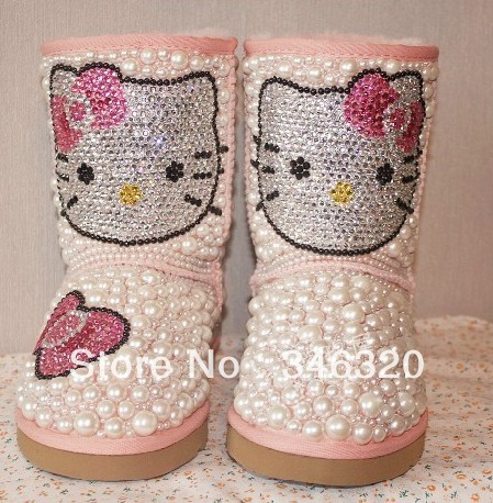 2013 New Design Women Winter Warm Pink Hello Kitty Printed Crystal Snow Boots Fancy Girls Boots-in Boots from Shoes on Aliexpress.com