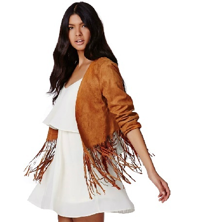 Suede round neck short jacket tassel female ha6654 for sale