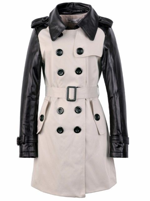 162386ac4 Faux Leather Sleeve Double Breasted Trench Coat Jacket M L XL XXL | eBay