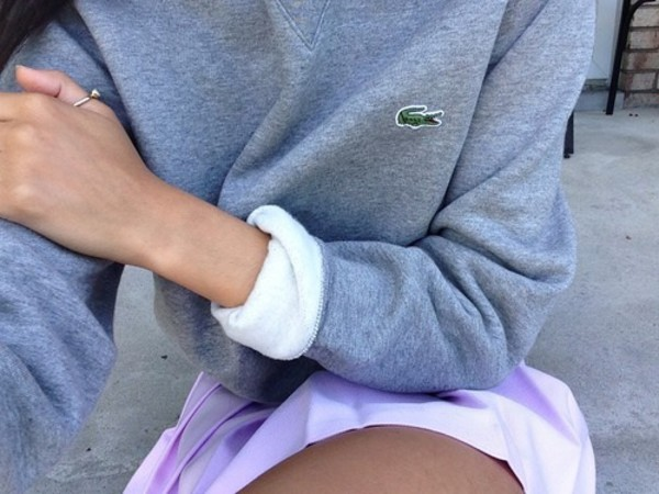 lacoste grey sweater sweater lacoste top sweat grey withe crocodile girl women women hier twitter grey sweater grey top grey top hoodie outfit winter outfits winter sweater oversized sweater