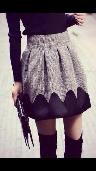skirt grey skirt black