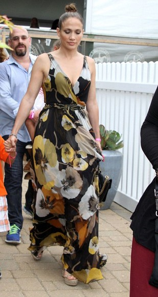 dress floral floral dress maxi dress jennifer lopez
